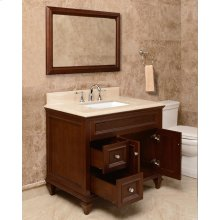 White PRESLEY 36-in Single-Basin Vanity Cabinet with Crema Marble Stone Top and Julian 18x12 Sink