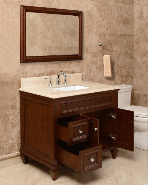 Walnut Brown PRESLEY 36-in Single-Basin Vanity Cabinet with Carrara Marble Stone Top and Karo 18x12 Sink