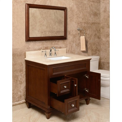 Walnut Brown PRESLEY 36-in Single-Basin Vanity Cabinet with Crema Marble Stone Top and Karo 18x12 Sink
