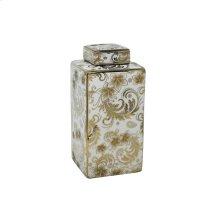 "Square White Jar, Gold Detail, 12"""