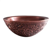 Akola Round Embossed Copper Vessel - Antique Copper