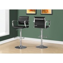 BARSTOOL - 2PCS / BLACK / CHROME METAL HYDRAULIC LIFT