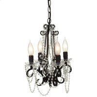 Black Beaded Four Arm Chandelier. 25W Max. Plug-in with Hard Wire Kit Included. Product Image