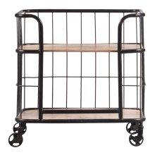 Industrial Wood & Metal Trolley Bar Cart