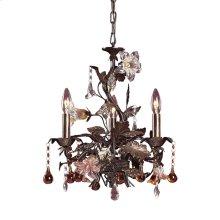 Cristallo Fiore 3-Light Chandelier in Deep Rust