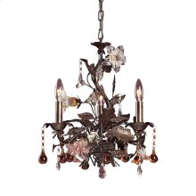 Cristallo Fiore 3-Light Chandelier in Deep Rust with Clear and Amber Florets