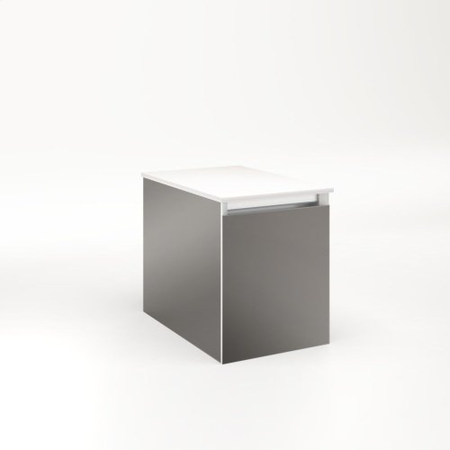 """Cartesian 12-1/8"""" X 15"""" X 18-3/4"""" Single Drawer Vanity In Tinted Gray Mirror With Slow-close Full Drawer and Night Light In 5000k Temperature (cool Light)"""