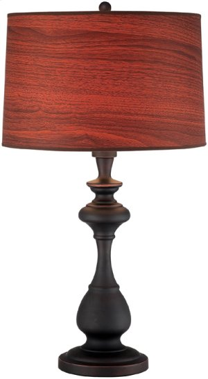 Table Lamp, D.BRONZE/WOOD Printed Vinyl Shade, E27 Cfl 32w