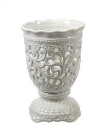 Pierced Footed White Vase 10""