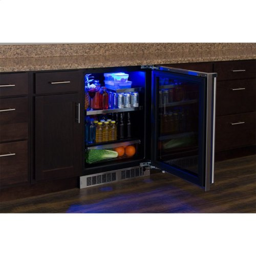 """Marvel Professional 24"""" Beverage Refrigerator with Drawer - Panel-Ready Framed Glass Door with Lock - Integrated Right Hinge (handle not included)*"""