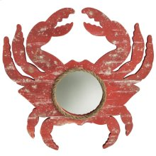 Weathered Crab Red  Wooden with Rope Accent Mirror  18in X 18in
