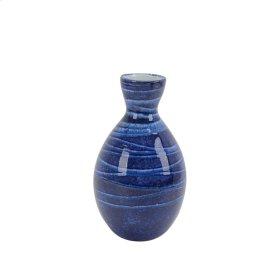 """Ceramic Vase 10"""", Blue"""