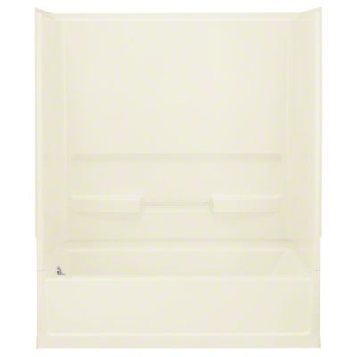 "Advantage™, Series 6103, 60"" x 30"" x 72"" Bath/Shower with Age in Place Backers - Left-hand Drain - KOHLER Biscuit"