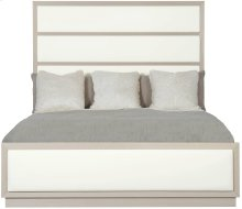 Queen-Sized Axiom Upholstered Panel Bed in Linear Gray (381)