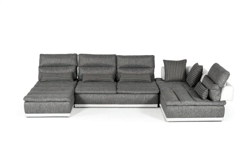 David Ferrari Panorama Italian Modern Grey Fabric White Leather Configurable Sectional Sofa