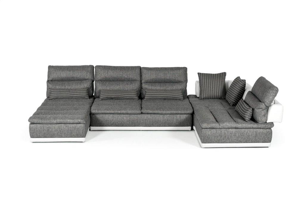 David Ferrari Panorama Italian Modern Grey Fabric U0026 White Leather Configurable  Sectional Sofa
