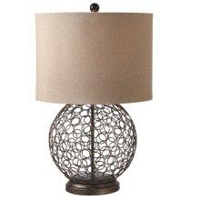 Metal Circle Table Lamp with Jute Shade. 60W Max.