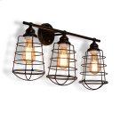Baxton Studio Lieke Vintage Industrial Dark Bronze Metal 3-Light Cage Wall Sconce Lamp Product Image