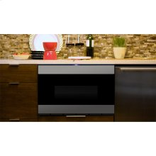 "24"" Microwave Drawer , Stainless Steel, black glass finish, ""Easy Wave Open"" Motion Sensor"
