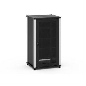 Salamander DesignsSynergy Solution 402, Single-Width AV Cabinet, Black with Aluminum Posts