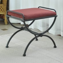Microsuede Upholstered Iron Iron and Microsuede Vanity Stool - Red Wine