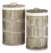 Libby Rattan Storage Hamper With Liner - White Wash
