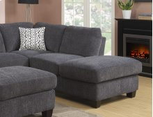 Right Side Facing Chaise Charcoal W/2 Pillow