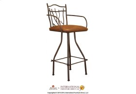 24in Branch Hand Forged Barstool - w/Arms, Microfiber Seat