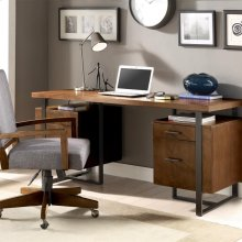Terra Vista - Double Pedestal Desk - Casual Walnut Finish