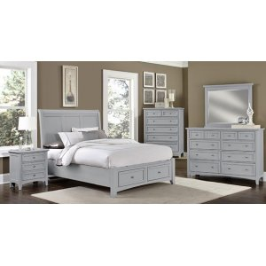 Queen Grey Sleigh Storage Bed