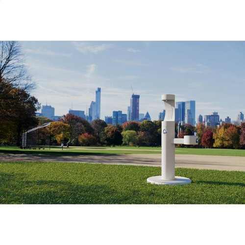 Elkay Outdoor EZH2O Bottle Filling Station Bi-Level Pedestal, Non-Filtered Non-Refrigerated White