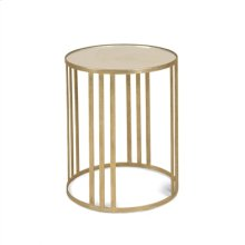 Textured Antique Gold Iron Occasional Table with Inset Mirror Glass Top