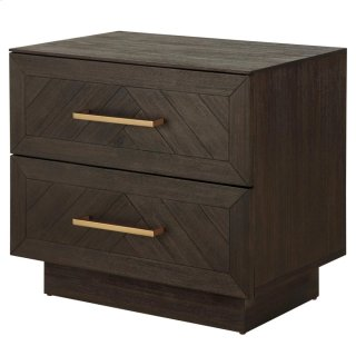 Wellington Herringbone Night Stand/Side Table 2 Drawers, Thames Dark Brown *NEW*