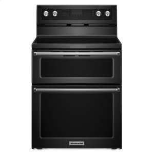 KITCHENAID30-Inch 5 Burner Electric Double Oven Convection Range - Black