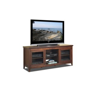 "Techcraft62"" Wide Credenza, Solid Wood and Veneer In A Walnut Finish, Accommodates Most 70"" and Smaller Flat Panels - No Tools Required"