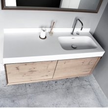 "series 1400 blustone™ vanity top with right offset basin, 4"" thick, White gloss 55 1/4"" x 20 1/4"""