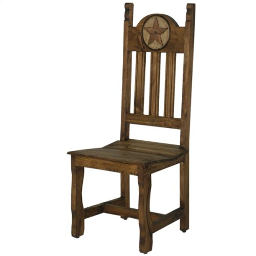 Dining chair with wood seat and stone star (Medio finish)