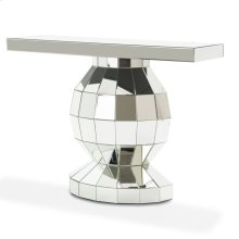 Silver Mirrored Globe Console Table Base