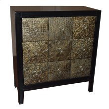 Empire Black and Antique Gold 3 Pyramid Drawer Chest