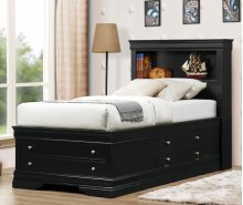 Black LP Storage Bed - Queen