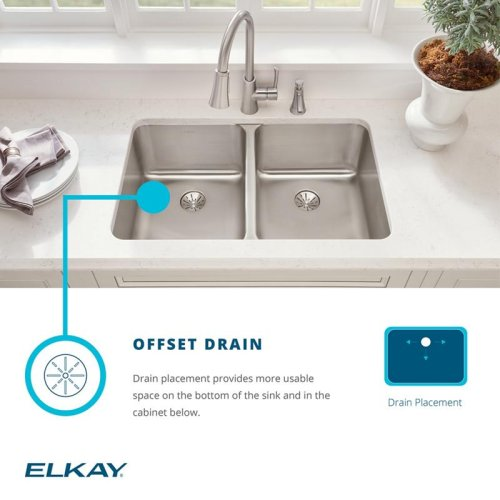 """Elkay Lustertone Classic Stainless Steel 31-1/4"""" x 20"""" x 10"""", Offset 60/40 Double Bowl Undermount Sink Kit"""