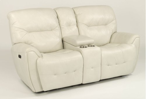 Blaise Leather Power Reclining Loveseat with Console and Power Headrests