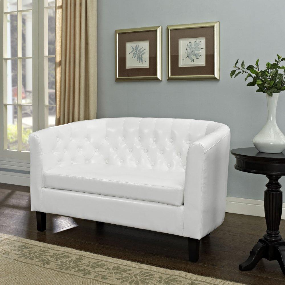 Prospect Upholstered Vinyl Loveseat in White