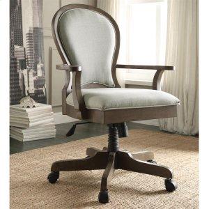 RiversideBelmeade - Scroll Back Upholstered Desk Chair - Old World Oak Finish