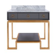 Grey Lacquer Bath Vanity Paired With Gold Leaf Base & Hardware.