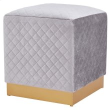 Dante Velvet Fabric Square Ottoman, Serene Light Gray/ Gold *NEW*
