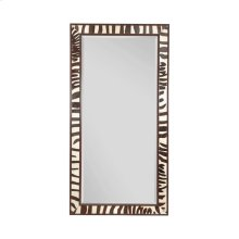 EBONY , ZEBRA LEATHER INLAY MIRROR