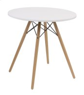 "Annette - Complete Table-round White Top 27.5""&WOOD Legs-metal Struts"