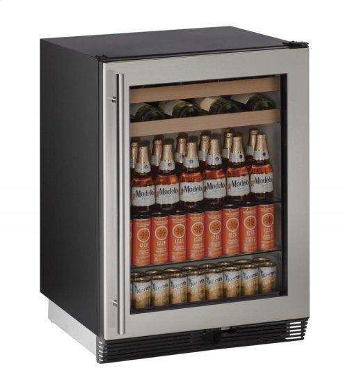 "24"" Beverage Center Stainless Frame Field Reversible Door"