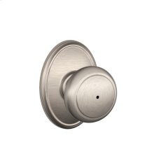 Andover Knob with Wakefield Style trim Bed & Bath Lock - Satin Nickel